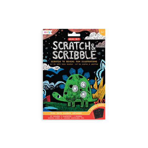 Mini Scratch & Scribble Art Kit - Dinosaur Days 7 Piece Set