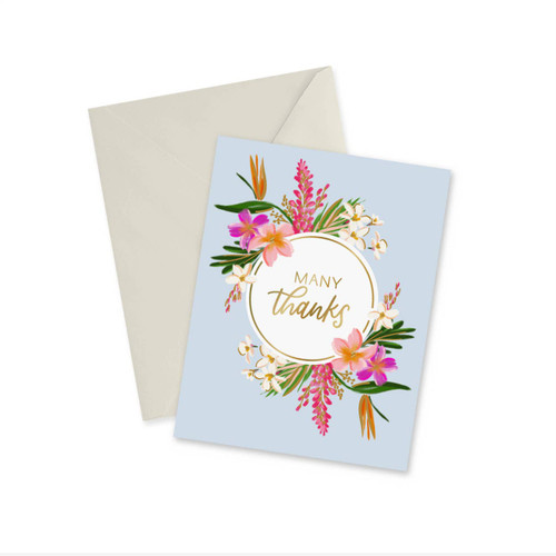 Many Thanks - Gold Foil Notecard