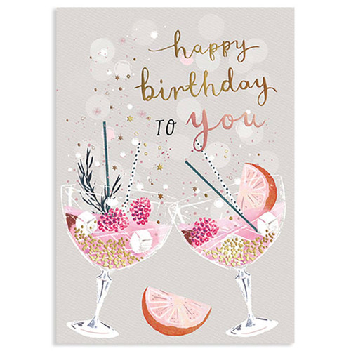 Apricot Cocktails Birthday Card