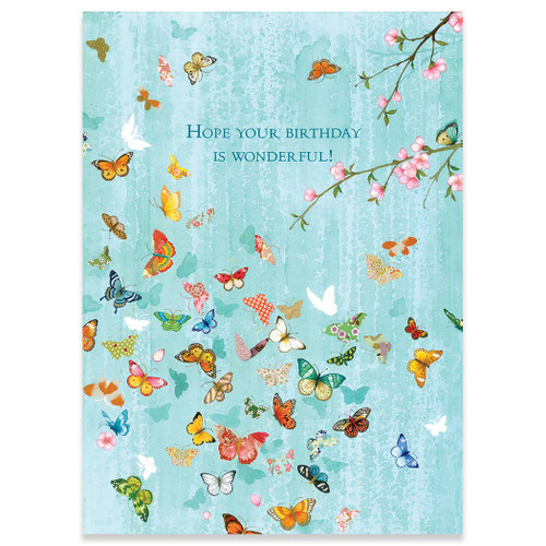 Turquoise Butterflies Birthday Card