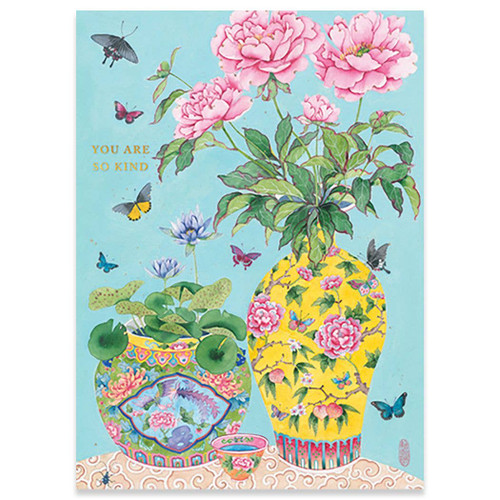 Peonies and Waterlilies - Thank You Card