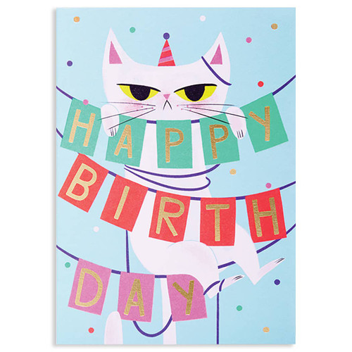 Cat Strung Up - Birthday Card