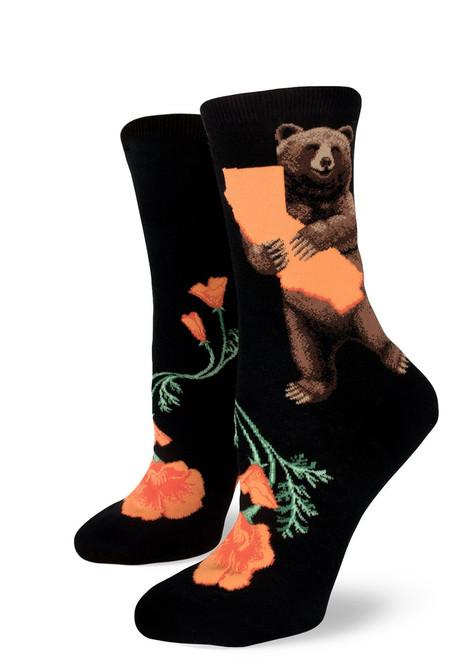 California Bear Hug Crew Socks Black