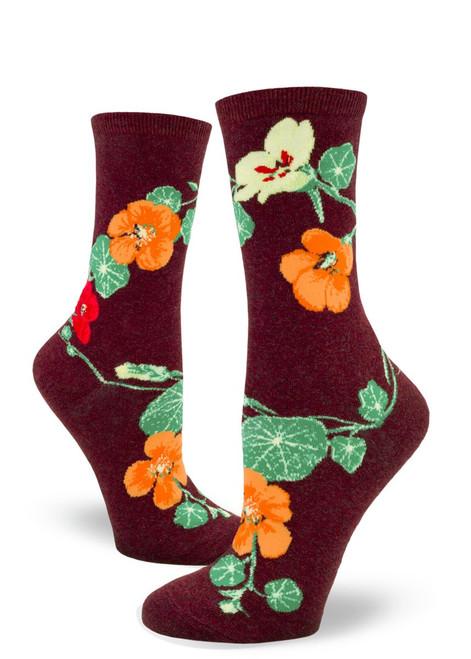 Nasturtiums Women's Crew Socks Heather Brick