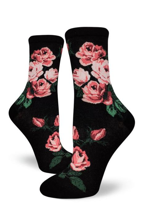 Romantic Rose Crew Sock Black