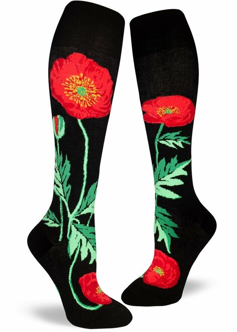 Bold Poppies Knee Socks Black