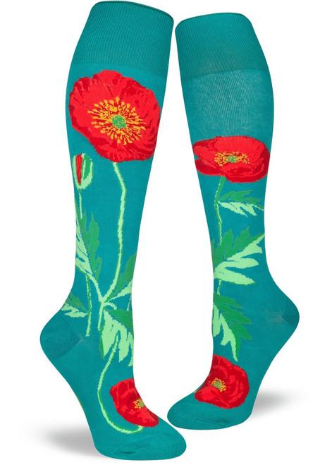 Bold Poppies Knee Socks Lake