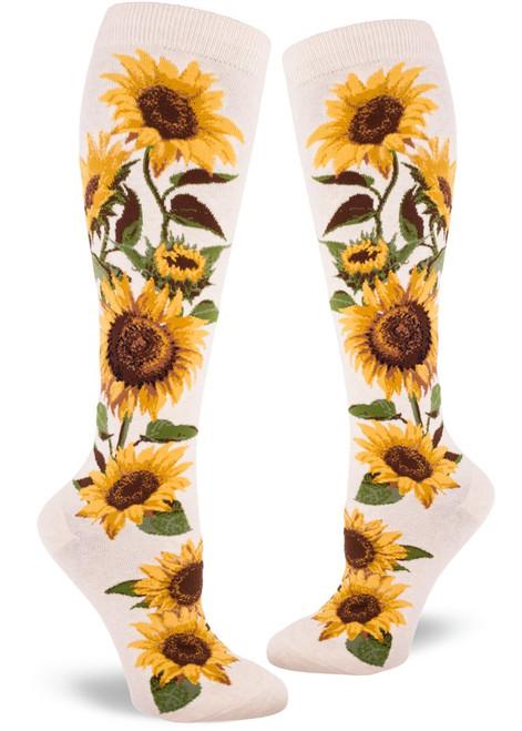 Sunflower Knee High Socks Heather Cream