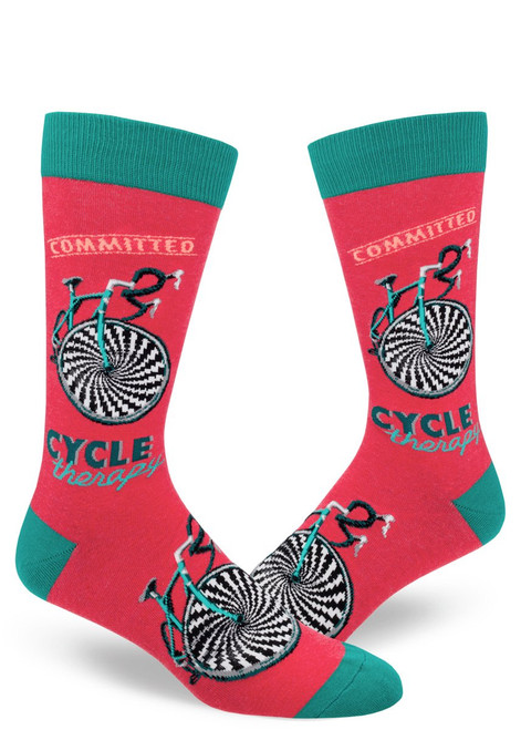 Cycle Therapy Men's Crew Socks Heather Red