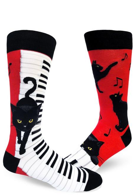 Piano Cat Men's Crew Socks Red