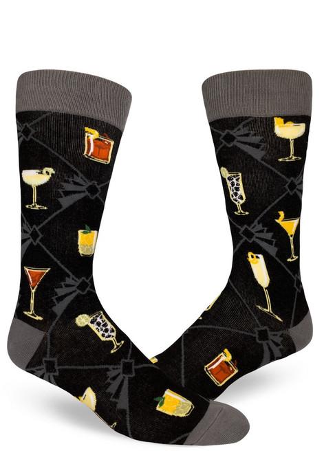 Men's Speakeasy Cocktails Crew Socks Black
