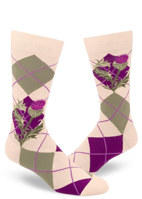 Men's Argyle Thistle Crew Sock Heather Cream