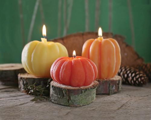 """Large Pumpkin 4"""" x 3"""" is the large natural colored pumpkin on the left."""