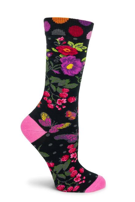 Butterfly Garden Socks - Black