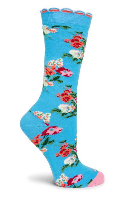 Wildflowers Socks Blue