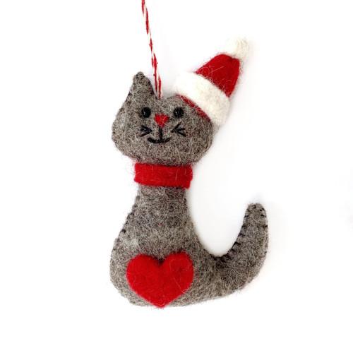 Cat Felt Wool Christmas Ornament