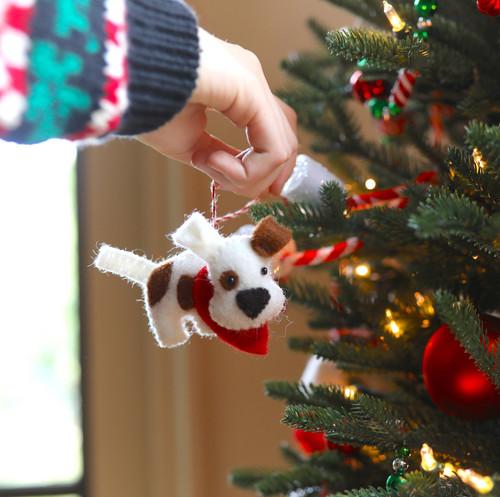 Dog Felt Wool Christmas Ornament