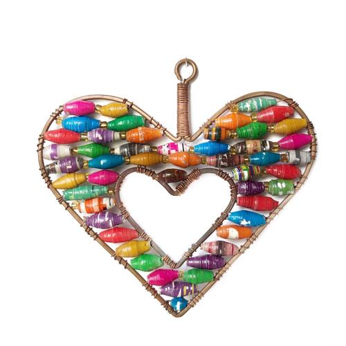 Open Heart Multicolor Paper Bead Ornament