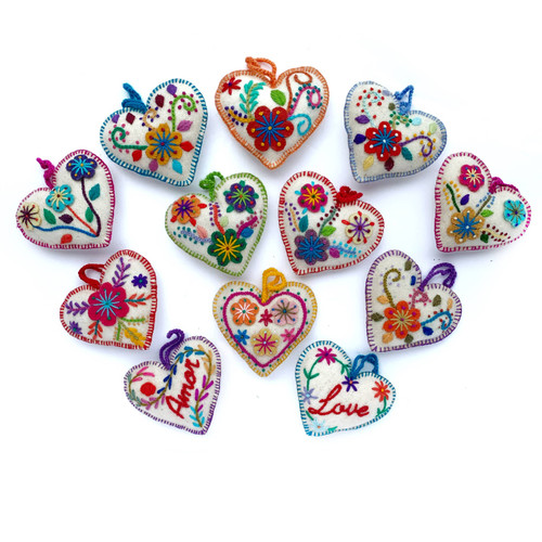 White Heart Embroidered Ornament - Assorted