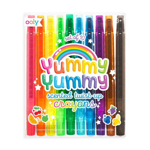 Yummy, yummy, scented twist-up crayons. Set of 10.