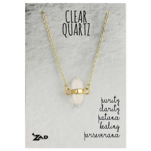 Clear Quartz Crystal Gold Necklace