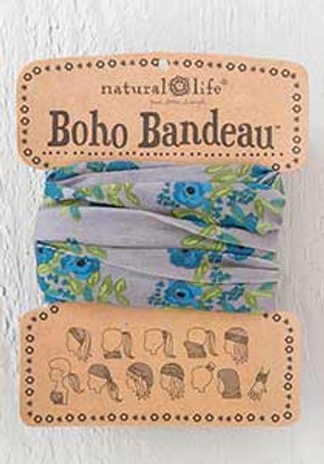 Boho Bandeau Blue Taupe Blooms