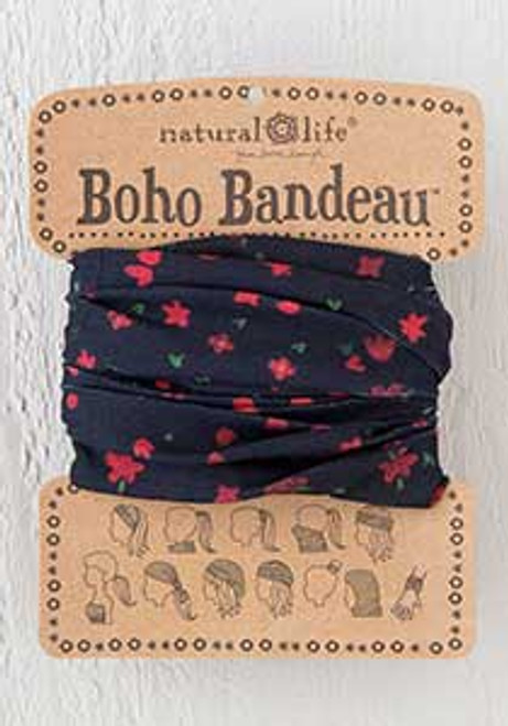 Black Bandeau with small red flowers