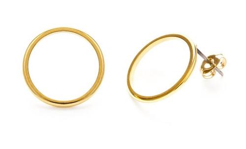 Modern Gold Circle Studs