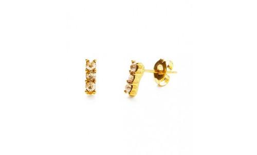 Triple Crystal Studs - Gold Honey