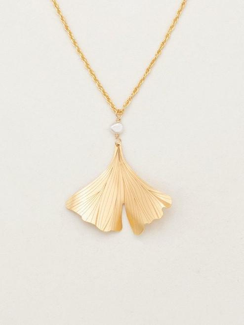 Gold Gingko Pendant Necklace