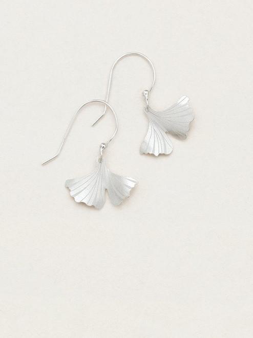 Silver Petite Ginkgo Earrings