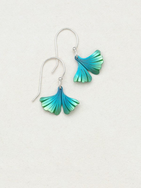 Turquoise / Green Petite Ginkgo Earrings
