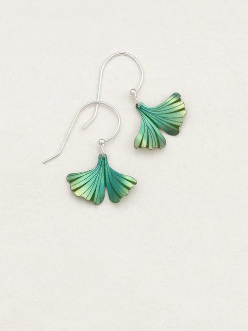 Green Petite Ginkgo Earrings