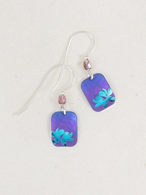 Purple / Teal Blooming Lotus Earrings