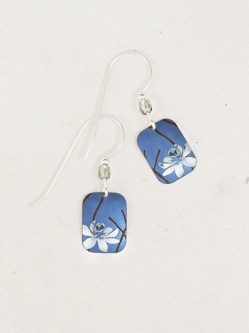 Blue / Silver Blooming Lotus Earring
