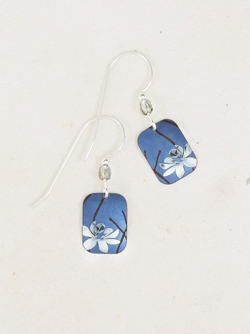 Blue / Silver Blooming Lotus Earring