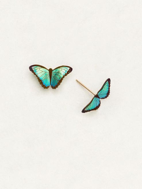 Green Flash Petite Bella Butterfly Post Earrings
