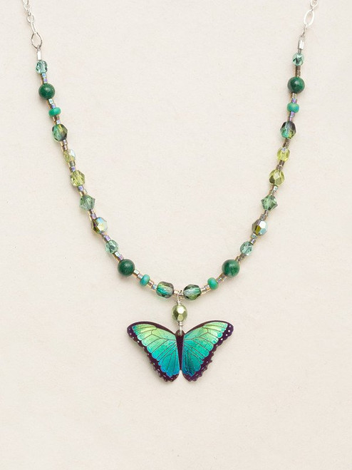 Green Flash Bella Butterfly Beaded Necklace