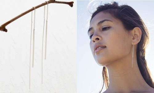Needle and Thread Earrings - Silver