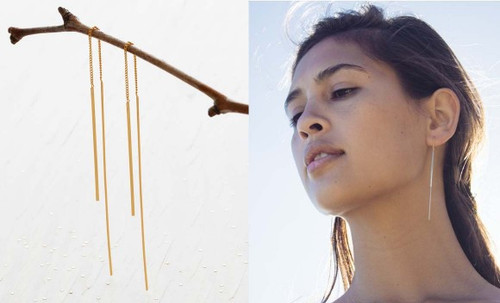 Needle & Thread Earrings Sterling Silver & 24K Gold Plated