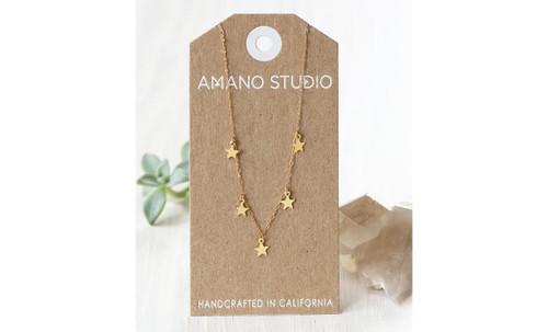 "5 Stars Necklace 16"" 14k gold over brass"