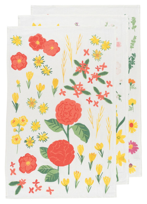 Bakers Floursack Flowers of the Month Set of 3 Towels