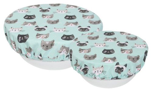 Bowl Cover Set of 2 Cats Meow