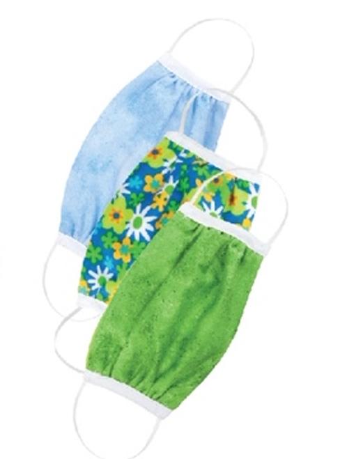 Set of 3 Non-Medical Kids-size Masks Flowers / Green / Sky