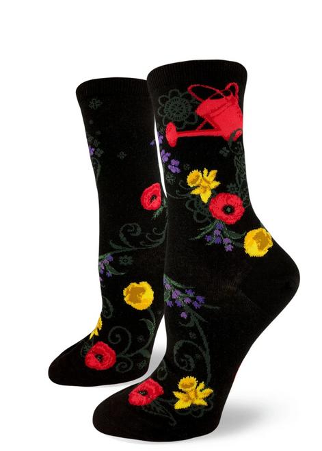 Garden Goals Crew Sock Black