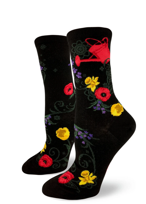 Garden Goals Crew Sock Black