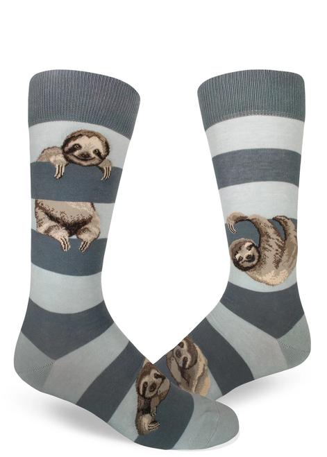 Men's Sloth Stripe Frost Crew Socks