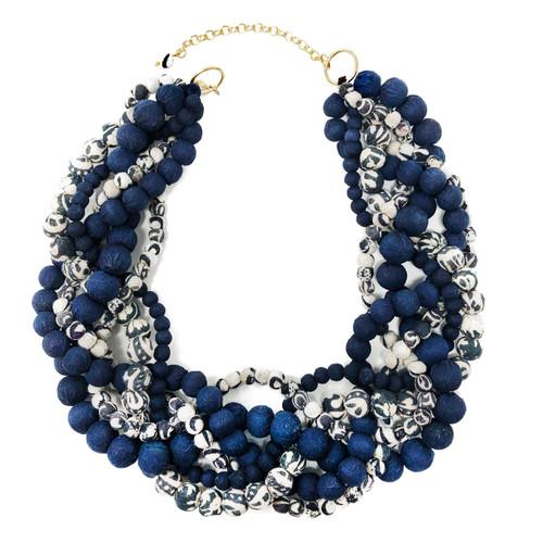 Kantha Indigo Braided Collar Necklace