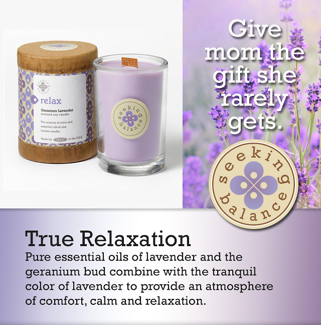 Relax Candles in a variety of sizes.