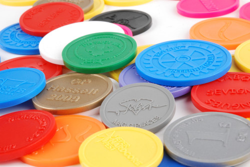 """Plastic Tokens Embossed Round 0.91"""" Qty 3000 Token Collage"""